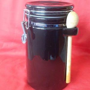 Vintage Black Locking Hinged Lid Jar